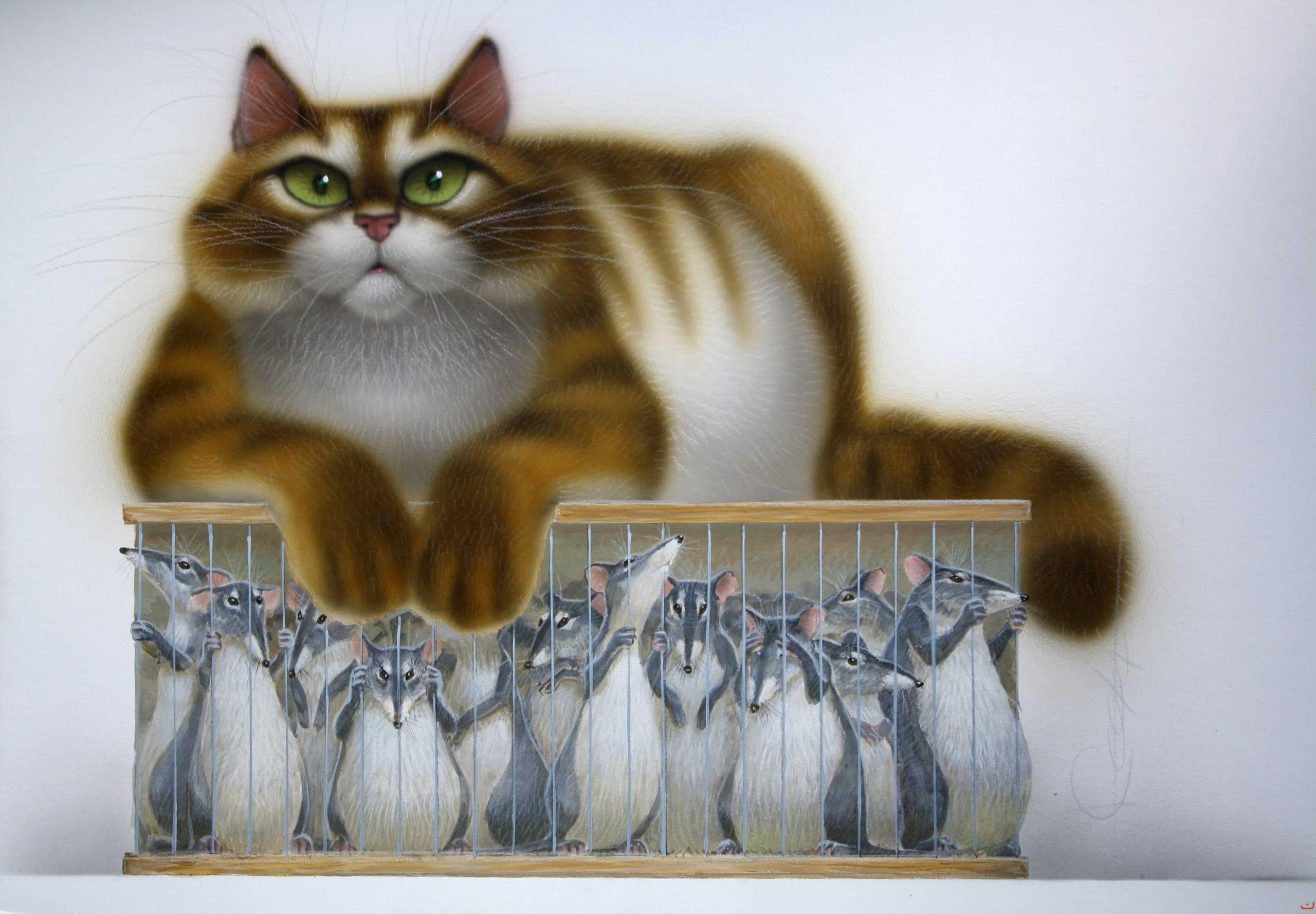 Красотками, прикольные кошки рисунок